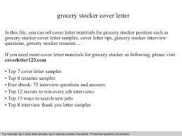 Stocker Resume Sample by Grocery Stocker Cover Letter