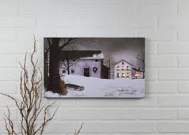 radiance flickering light canvas lighted picture of a farm at christmas shelley b home and holiday