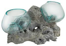 glass on teak driftwood double molten sculptural bowl plant