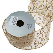 wire edged ribbon gisela graham ivory with gold glitter pattern wire edged ribbon