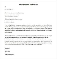 free teacher appreciation thank you letter template templatezet