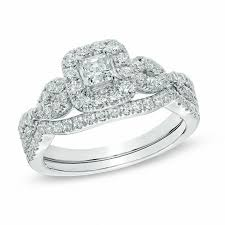 zales wedding rings for 1 ct t w princess cut frame twist bridal set in 14k