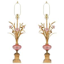 Glass Table Lamp Midcentury Pair Of Murano Glass Table Lamps With Pink Flowers For