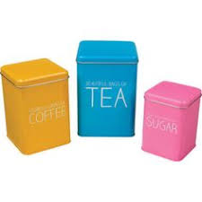 tea coffee sugar storage jars canisters set of 3 coloured lid