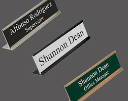 Desk Name Plates With Business Card Holder Desk Name Plate Etsy