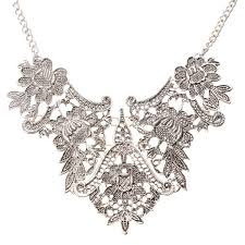 silver flower statement necklace images Vintage silver plated flower statement choker necklace women jpg