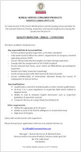 bureau veritas vacancies quality inspector vacancy in sri lanka