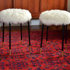 ikea marius stool hack replace fur with grey cable knit get