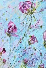 pink flowers with palette knife painting картина маслом