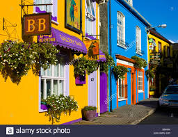 colored house facades in kinsale ireland europe stock photo