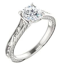 white topaz engagement ring scrollwork design white topaz engagement ring in sterling silver