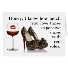 birthday cards with shoes shoe and wine birthday card zazzle