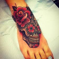 flower skull by all ink tattoos