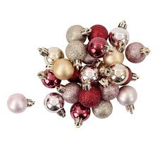 mini plastic ornament set light gold light pink