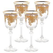 set of 6 embellished 24k gold crystal white wine goblets made in italy