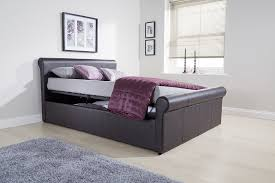 King Size Leather Sleigh Bed Gfw Carolina Faux Leather Sleigh Bed