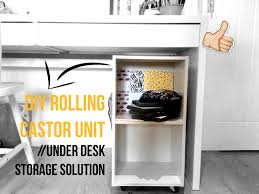 under desk shelving unit diy rolling castor unit under desk storage solution youtube