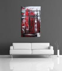 abstract painting black red white gray acrylic by osnatfineart