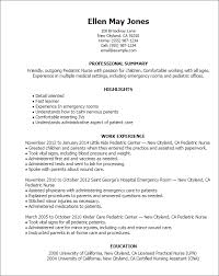 New Nurse Resume Examples by Wonderful Pediatric Nurse Resume 14 Nurse Resume Templates