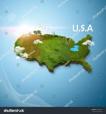 A Map Of United States Realistic 3d Map United States America Stock Illustration