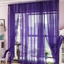 Purple Sheer Curtains Window Treatment Polyester Artificial Fiber Blend Purple
