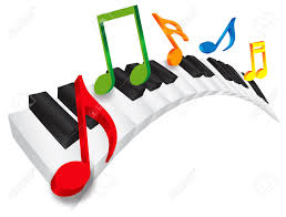 piano keyboard with black and white wavy keys and colorful music