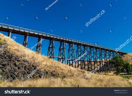 historic nimmons bridge disused railway trestle stock photo