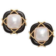 black onyx earrings black onyx pearl and gold clip on earrings for sale at 1stdibs