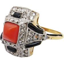 art deco 1920s coral ring gold platinum coral onyx and diamond