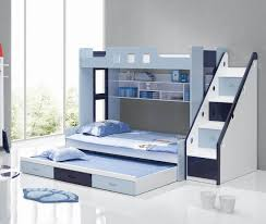 bedroom white blue wooden bunk bed with stair and drawers added