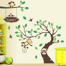tree wall stickers zoo yoo monkeys and owl tree wall sticker large