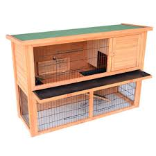 Outdoor Rabbit Hutch Plans Pawhut 54 In Wooden Rabbit Hutch Bunny House With Outdoor Run