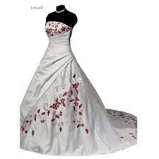 brautkleid wei rot trägerlosen weiß rot stickerei gericht zug ballkleid brautkleid