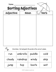 rainy day adjective sorting worksheet