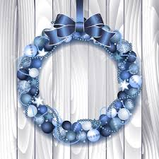 wreath decoration from blue and silver balls