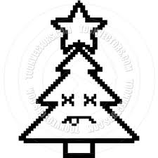 8 bit cartoon christmas tree dead black u0026 white line art by cory