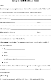 download equipment bill of sale form for free tidyform