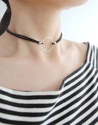 circle double necklace images Wholesale silver circle double layer black leather choker necklace jpg