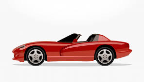 cartoon convertible car red convertible car cartoon with detailed side and shadow effect