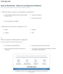 Electron Configuration Practice Worksheet Answers Quiz Worksheet Electron Configuration Notation Study Com