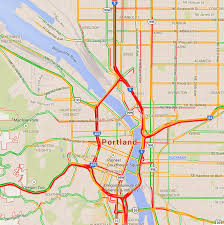 Map Of Portland Busiest Roads In Portland Oregon During Rush Hour Traffic