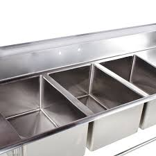 3 Bay Sink Faucet Sinks Interesting 3 Compartment Kitchen Sink 3 Compartment