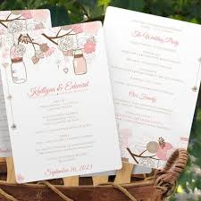 Wedding Program Paddle Fan Template Program Fan Template Mason Jar Blossoms Pink U0026 Tan