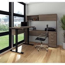 A Shaped Desk Digital Height Adjustable L Shape Desk With Hutch Antigua Brown