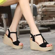 Fashion Blue Sandals 4 Inch High Wedge Heel With Ankle Strap