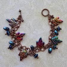 leaf bead copper chain bracelet autumn leaves glass leaf bead