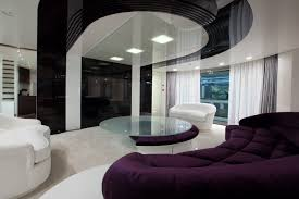 green white modern ideas living room design with glass round table