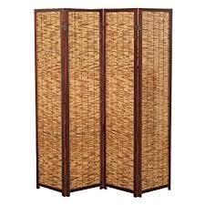 Folding Room Divider Decorative 4 Panel Wood Bamboo Folding Room Divider