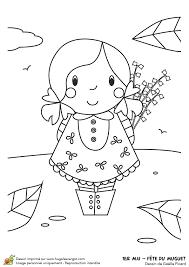 Dessin à colorier de muguet pour le 1er mai et dune petite fille