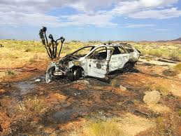subaru outback offroad car rolls bursts into flames after suv forces it off i 15 u2013 st